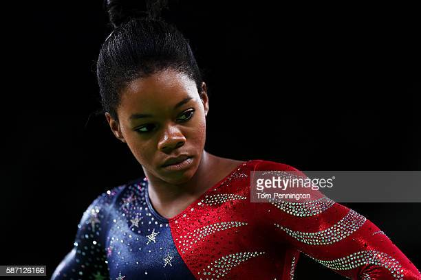 Gabrielle Douglas of the United States prepares to compete on the floor during Women's qualification for Artistic Gymnastics on Day 2 of the Rio 2016...