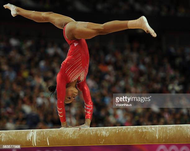 Gabrielle Douglas of USA performing on the beam during the Women's Artistic Gymnastics Team Final at the North Greenwich Arena as part of the 2012...