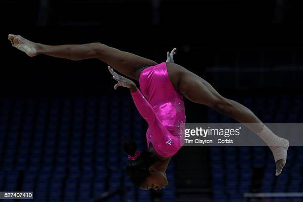 Gabrielle Douglas USA in action on the beam during the Women's Artistic Gymnastics podium training at North Greenwich Arena during the London 2012...