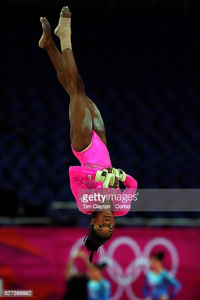 Gabrielle Douglas USA in action on the floor during the Women's Artistic Gymnastics podium training at North Greenwich Arena during the London 2012...