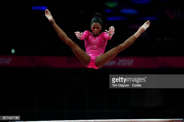 Gabrielle Douglas USA in action on the uneven bars during the Women's Artistic Gymnastics podium training at North Greenwich Arena during the London...