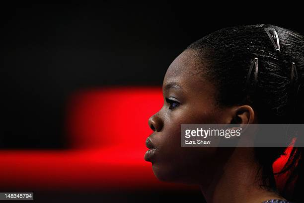 Gabrielle Douglas waits to compete during day 4 of the 2012 US Olympic Gymnastics Team Trials at HP Pavilion on July 1 2012 in San Jose California