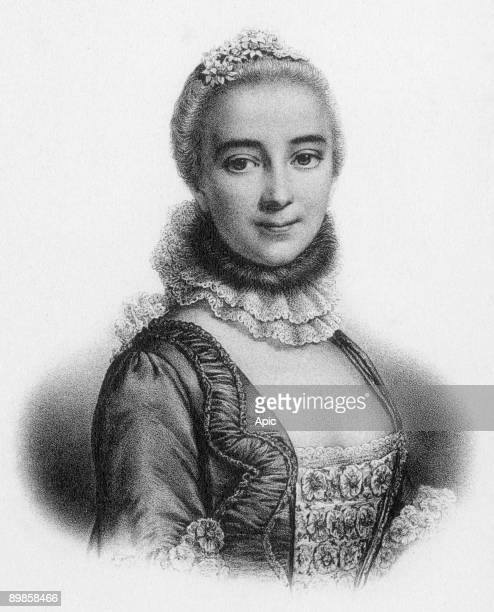 Gabrielle Emilie de Breteuil marquess of Chatelet french woman of letters mistress of Voltaire, engraving