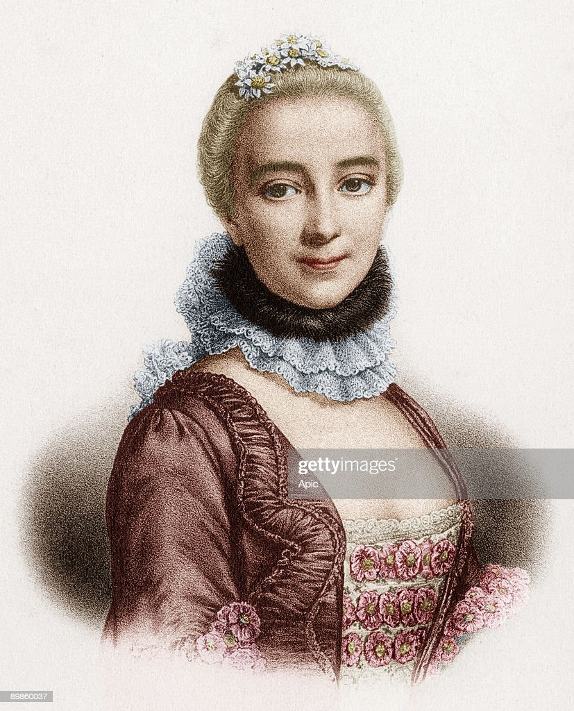 Gabrielle Emilie de Breteuil (1706-1749) marquess of Chatelet french woman of letters mistress of Voltaire, engraving colorized document : ニュース写真