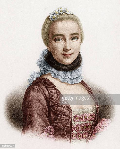 Gabrielle Emilie de Breteuil marquess of Chatelet french woman of letters mistress of Voltaire, engraving colorized document