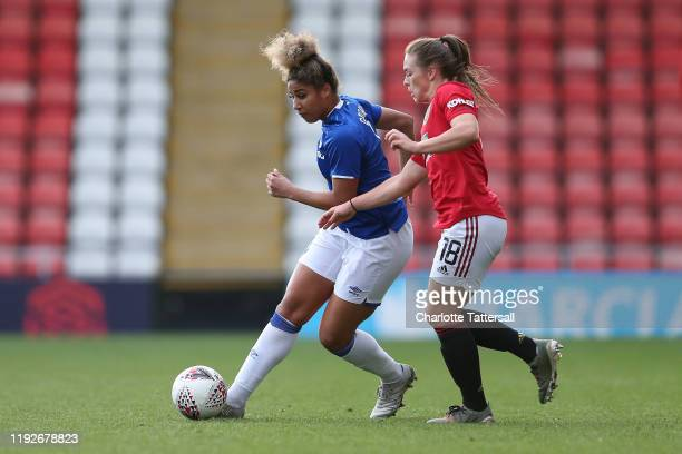 Gabrielle George of Everton on the ball during the Barclays FA Women's Super League match between Manchester United and Everton at Leigh Sports...