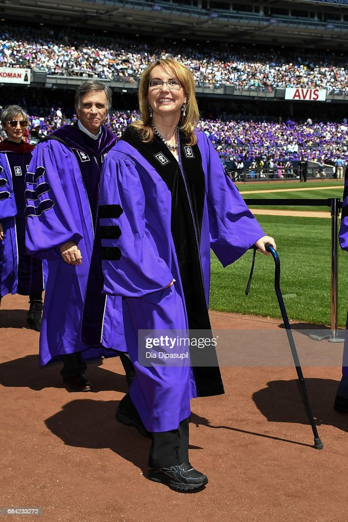 Gabrielle Giffords (C) attends the New York University 2017 Commencement at Yankee Stadium on May 17, 2017 in the Bronx borough of New York City.