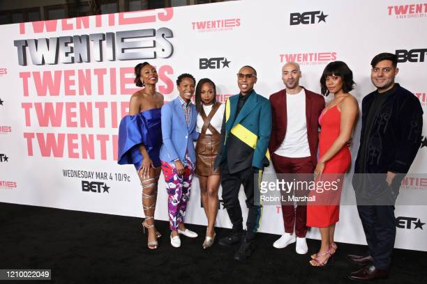 Gabrielle Graham Jonica T Gibbs Sheria Irving Lena Waithe Jevon McFerrin Christina Elmore attend the premiere of BET's Twenties at Paramount Studios...
