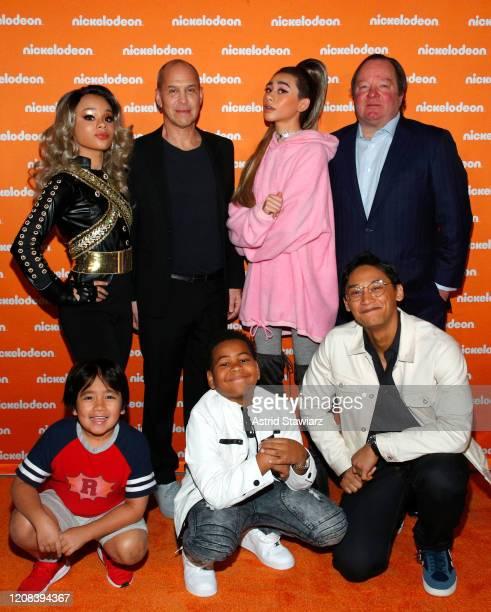 "Gabrielle Green, Brian Robbins, Nathan Janak as Ariana Grande on ""All That"", Bob Bakish, Ryan Kaji, Young Dylan and Josh Dela Cruz attend the..."