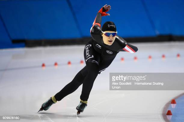 Gabrielle Jelonek of Canada performs in the ladies 1500 meter final during the World Junior Speed Skating Championships at Utah Olympic Oval on March...