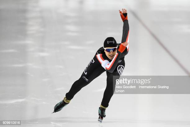 Gabrielle Jelonek of Canada performs in the ladies 500 meter final during the World Junior Speed Skating Championships at Utah Olympic Oval on March...