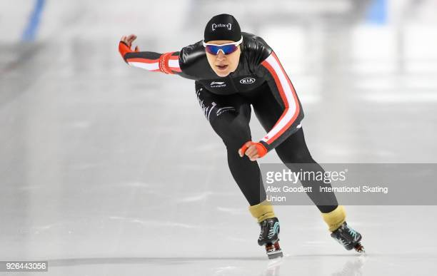 Gabrielle Jelonek of Canada performs in the women's 500 meter final during the ISU Junior World Cup Speed Skating event at Utah Olympic Oval on March...