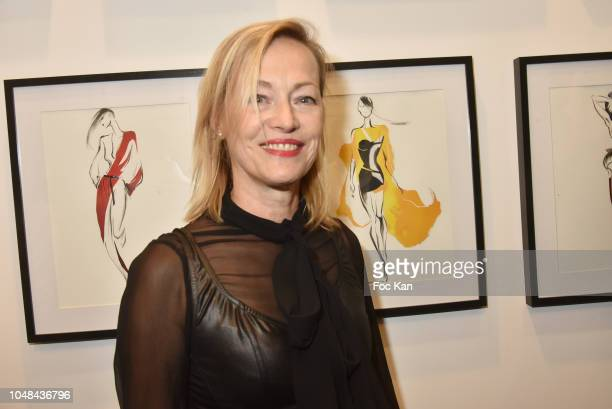 Gabrielle Lazure attends the 'Fashion Illustrators' Exhibition Preview at Alfalibra Galerie on October 9 2018 in Paris France