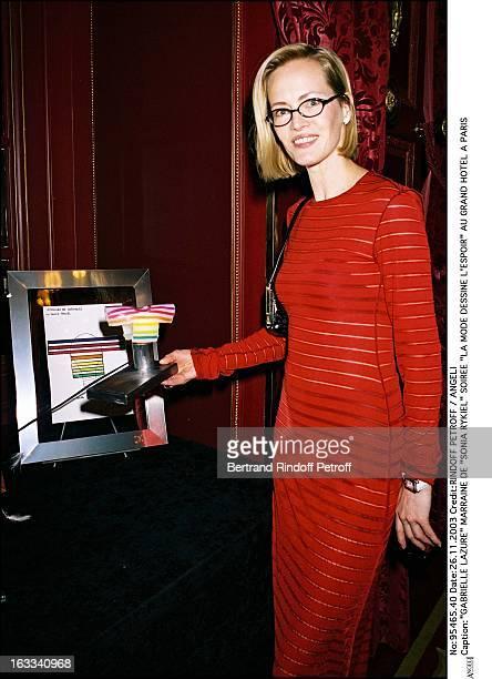 "Gabrielle Lazure godmother of ""Sonia Rykiel"" party ""La Mode Dessine L'Espoir"" at the Grand Hotel in Paris."