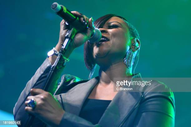 Gabrielle performs on stage on Day 26 of the iTunes Festival 2013 at The Roundhouse on September 26 2013 in London England