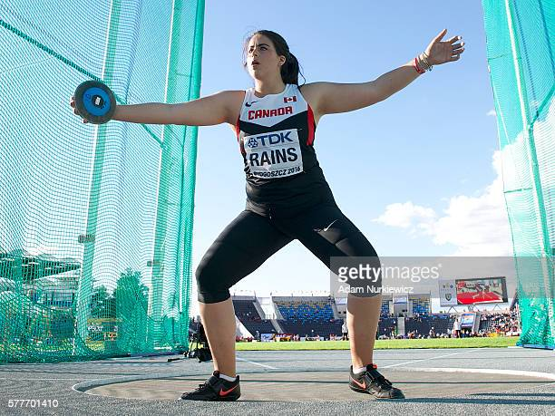 Gabrielle Rains from Canada competes in women's discus throw qualification round during the IAAF World U20 Championships Day 1 at Zawisza Stadium on...
