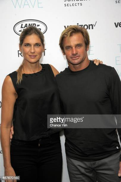 Gabrielle Reece and Laird Hamilton attend Take Every Wave The Life Of Laird Hamilton New York premiere at The Metrograph on October 4 2017 in New...