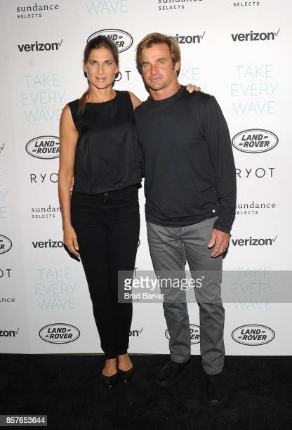Gabrielle Reece and Laird Hamilton attend the 'Take Every Wave The Life Of Laird Hamilton' New York Premiere at The Metrograph on October 4 2017 in...
