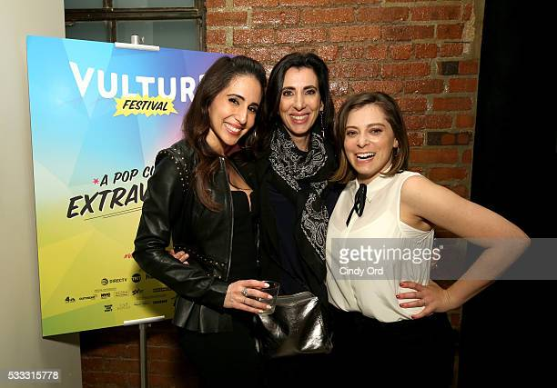 Gabrielle Ruiz, Stacey Wilson Hunt and Rachel Bloom pose after the 'Crazy Ex Girlfriend: A Musical Revue' during the Vulture Festival at Milk Studios...