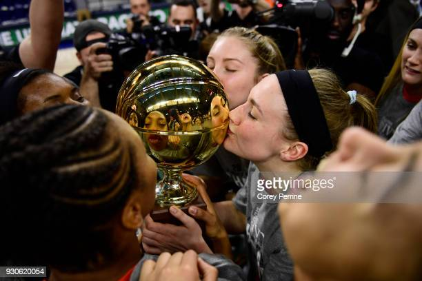 Gabrielle Rush of the Princeton Tigers kisses the championship trophy after winning the Women's Ivy League Tournament Championship at The Palestra on...