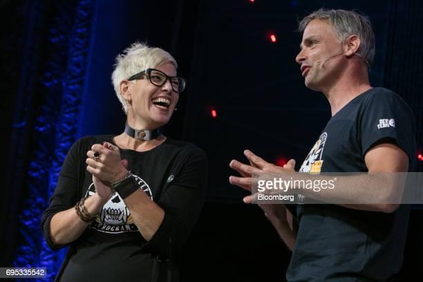 M Gabrielle Shrager narrative director of UbiSoft Montpellier SAS left and Michel Ancel creative director of UbiSoft Montpellier SAS speak while...