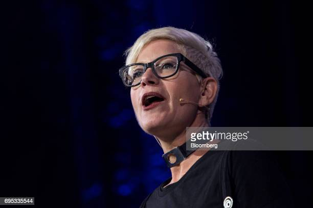 M Gabrielle Shrager narrative director of UbiSoft Montpellier SAS speaks while announcing the Beyond Good and Evil 2 video game during the company's...