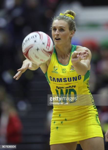 Gabrielle Simpson of Australia in action during the Netball Quad Series Vitality Netball International match between South Africa and Australia at...