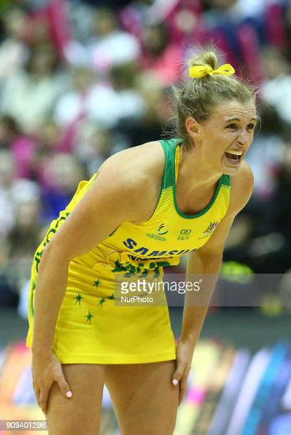Gabrielle Simpson of Samsung Diamonds during Vitality Netball International Series as part of the Netball Quad Series match between England Roses v...