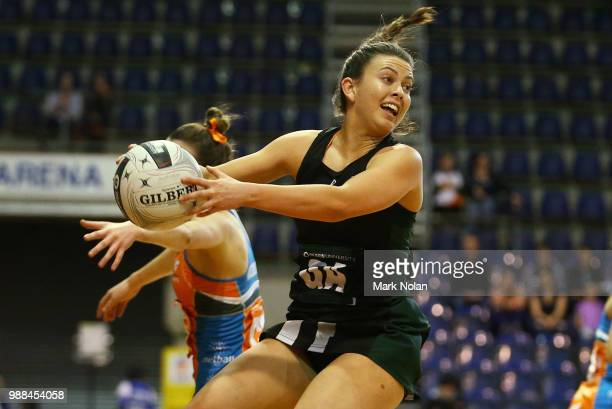 Gabrielle Sinclair of the Magpies in action during the Australian Netball League grand final between the Tasmanian Magpies and the Canberra Giants at...