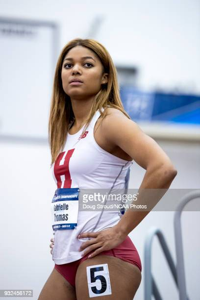 Gabrielle Thomas of Harvard University prior to the start of Heat 1 Preliminary of the Women's 200 Meter Dash during the Division I Men's and Women's...