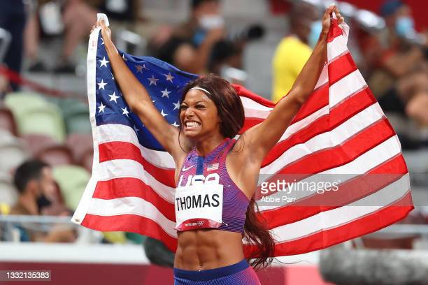 Gabrielle Thomas of Team United States celebrates after winning bronze in the Women's 200m final on day eleven of the Tokyo 2020 Olympic Games at...