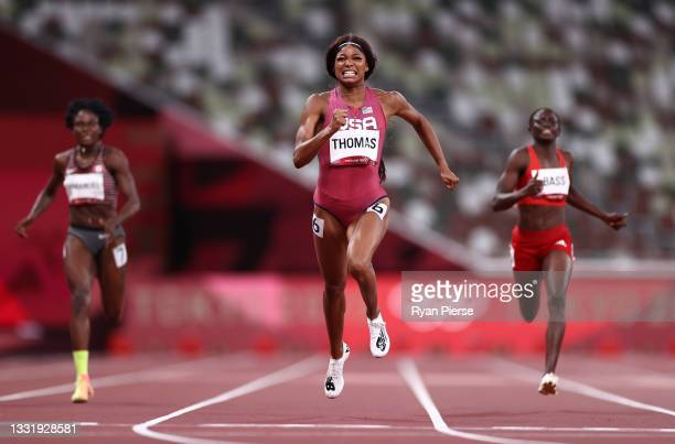 Gabrielle Thomas of Team USA competes in the Women's 200 metres Semi Final on day ten of the Tokyo 2020 Olympic Games at Olympic Stadium on August...