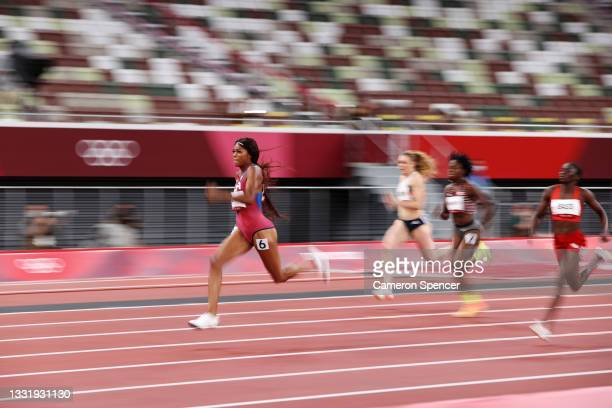 Gabrielle Thomas of Team USA runs ahead in the Women's 200 metres Semi Final on day ten of the Tokyo 2020 Olympic Games at Olympic Stadium on August...