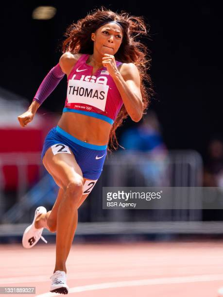 Gabrielle Thomas of United States of America competing in the Women's 200m Round 1 during the Tokyo 2020 Olympic Games at the Olympic Stadium on...