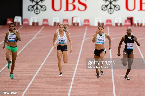 Gabrielle Thomas Olga Safronova Jodie Williams and Anthonique Strachan compete in women's 200m on July 05 2019 in Lausanne Switzerland