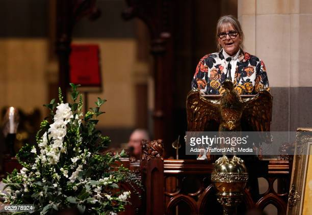 Gabrielle Trainor AFL Commissioner addresses the crowd during the former Collingwood legend Lou Richards state funeral at St Paul's Cathedral on May...