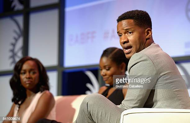 Gabrielle Union Aja Naomi King and Nate Parker attends The American Black Film Festival first look at 'A Birth Of A Nation' on June 17 2016 in Miami...