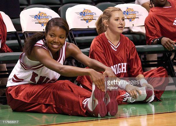 Gabrielle Union and Beverley Mitchell during NSYNC's Challenge for the Children V - Pre-Game Shoot Around at Office Depot Center in Fort Lauderdale,...