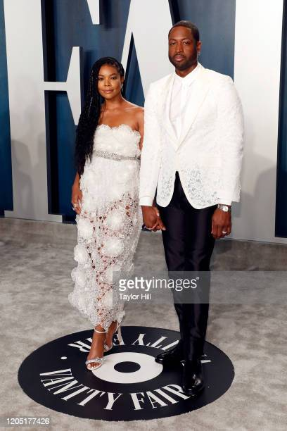 Gabrielle Union and Dwayne Wade attend the 2020 Vanity Fair Oscar Party at Wallis Annenberg Center for the Performing Arts on February 09, 2020 in...