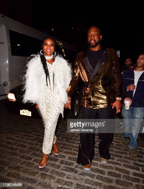 Gabrielle Union and Dwyane Wade arrive to Catch on April 11 2019 in New York City