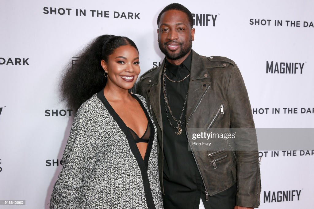 Gabrielle Union (L) and Dwyane Wade attend Magnify and Fox Sports Films' 'Shot In The Dark' premiere documentary screening and panel discussion at Pacific Design Center on February 15, 2018 in West Hollywood, California.