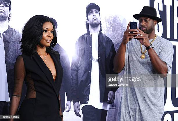 Gabrielle Union and Dwyane Wade attend the premiere of Straight Outta Compton at Microsoft Theater on August 10 2015 in Los Angeles California