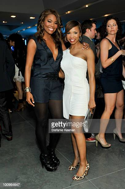 Gabrielle Union and Elise Neal attend A/X and Elle Night of Disco Glam Hosted by Joe Zee on May 25 2010 in West Hollywood California