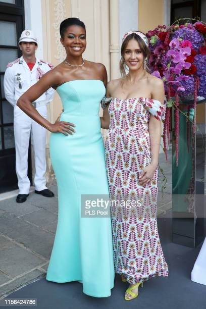 Gabrielle Union and Jessica Alba attend a cocktail during the 59th Monte Carlo TV Festival on June 16 2019 in Monaco Monaco