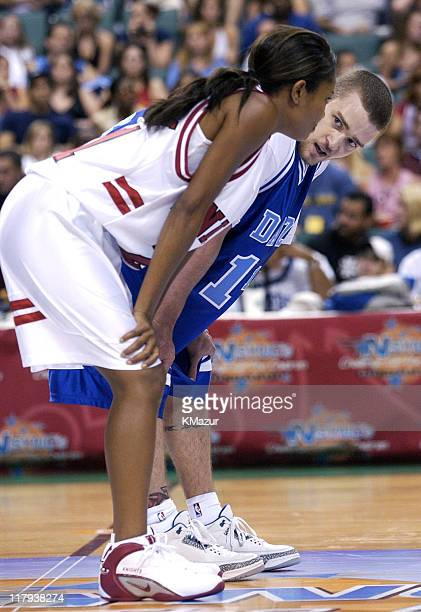 Gabrielle Union and Justin Timberlake during *NSYNC's Challenge for the Children V - Game at Office Depot Center in Fort Lauderdale, Florida, United...