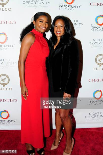 Gabrielle Union and Michelle Ebanks attend The Opportunity Network's 11th Annual Night of Opportunity Gala at Cipriani Wall Street on April 9 2018 in...