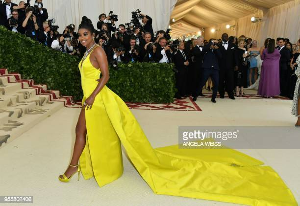Gabrielle Union arrives for the 2018 Met Gala on May 7 at the Metropolitan Museum of Art in New York The Gala raises money for the Metropolitan...