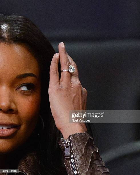 Gabrielle Union attends a basketball game between the Miami Heat and the Los Angeles Lakers at Staples Center on December 25 2013 in Los Angeles...