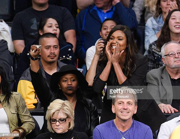 Gabrielle Union attends a basketball game between the Miami Heat and the Los Angeles Lakers at Staples Center on March 30 2016 in Los Angeles...