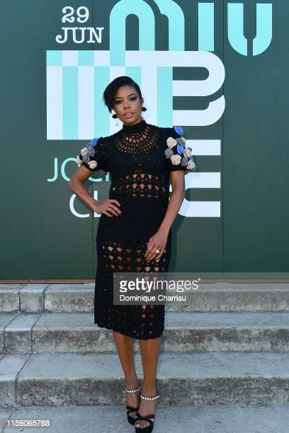 Gabrielle Union attends Miu Miu Club event at Hippodrome d'Auteuil on June 29 2019 in Paris France